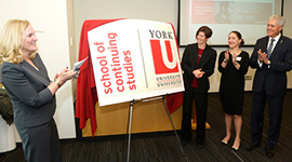 Vice president-academic and provost Rhonda Lenton, left, York University executive director-continuing and professional education Tracey Taylor-O'Reilly, student Sabrina Agricola and president and vice-chancellor Mamdouh Shoukri help launch the York University School of Continuing Studies