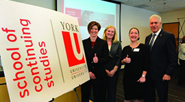 York University executive director-continuing and professional education Tracey Taylor-O'Reilly, left, vice president-academic and provost Rhonda Lenton, student Sabrina Agricola and president and vice-chancellor Mamdouh Shoukri help launch the York University School of Continuing Studie