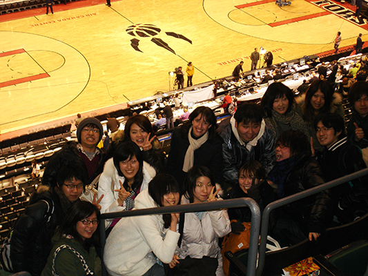 YUELI students in a Toronto Raptors basketball game