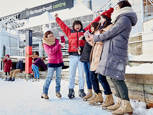 YUELI students skating at Harbourfront Centre, downtown Toronto