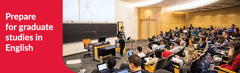 York students in lecture hall with a professor at the front of the classroom