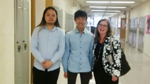 Students Hugo Lee (L) and Billy Lam (R) with Bonnie MacDonald from TDSB