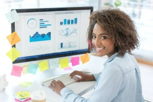 Business woman working with computer analyzing data