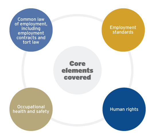 Core elements covered in the HRPA Employment Law exam for both the CHRP and CHRL designations