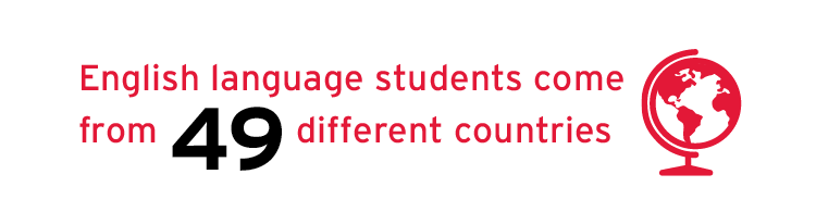 English language students come from 49 different countries