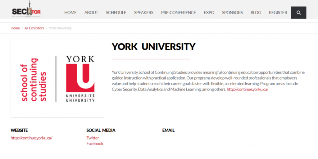 YorkU Continuing Studies Bronze Sponsor at SecTor 2018