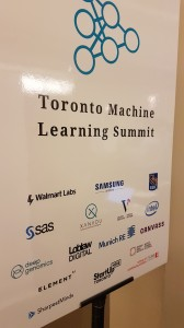 Welcome sign at Toronto Machine Learning Summit 2018, with list of sponsors