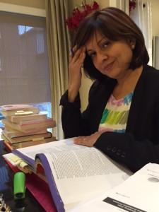 Belinda Schuler-Chin studies at home.