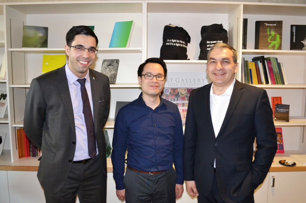 Boris Remes (Schulich School of Business, York University), Joe Chow (Canadian International Immigration Service Inc.), and Vladimir Collado (Overseas Frontiers Inc.) at the evening event at the York University Art Gallery