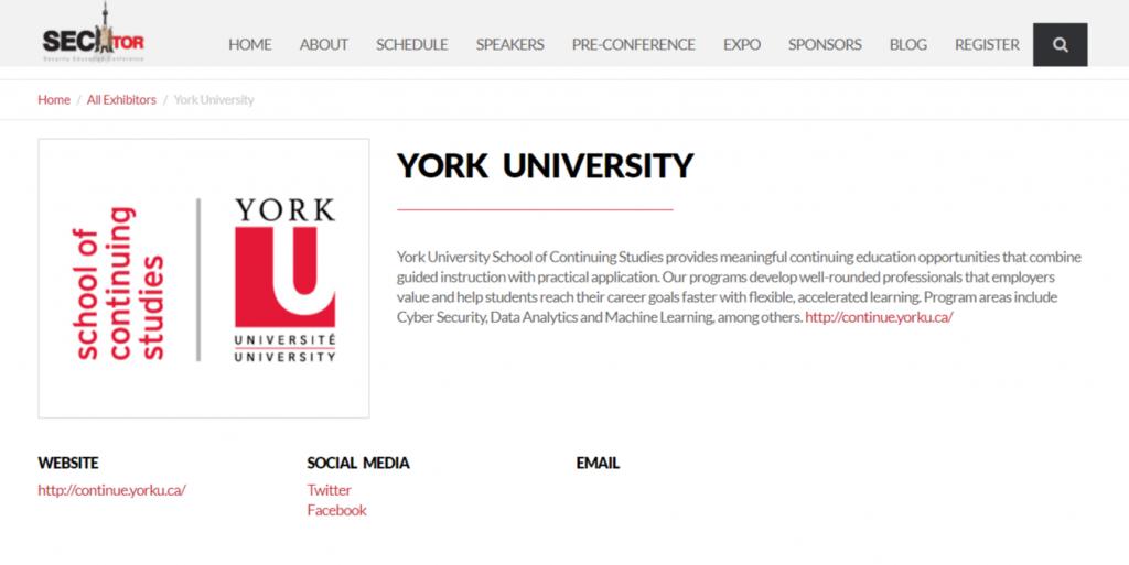 YorkU Continuing Studies Bronze Sponsor at SecTor 2018