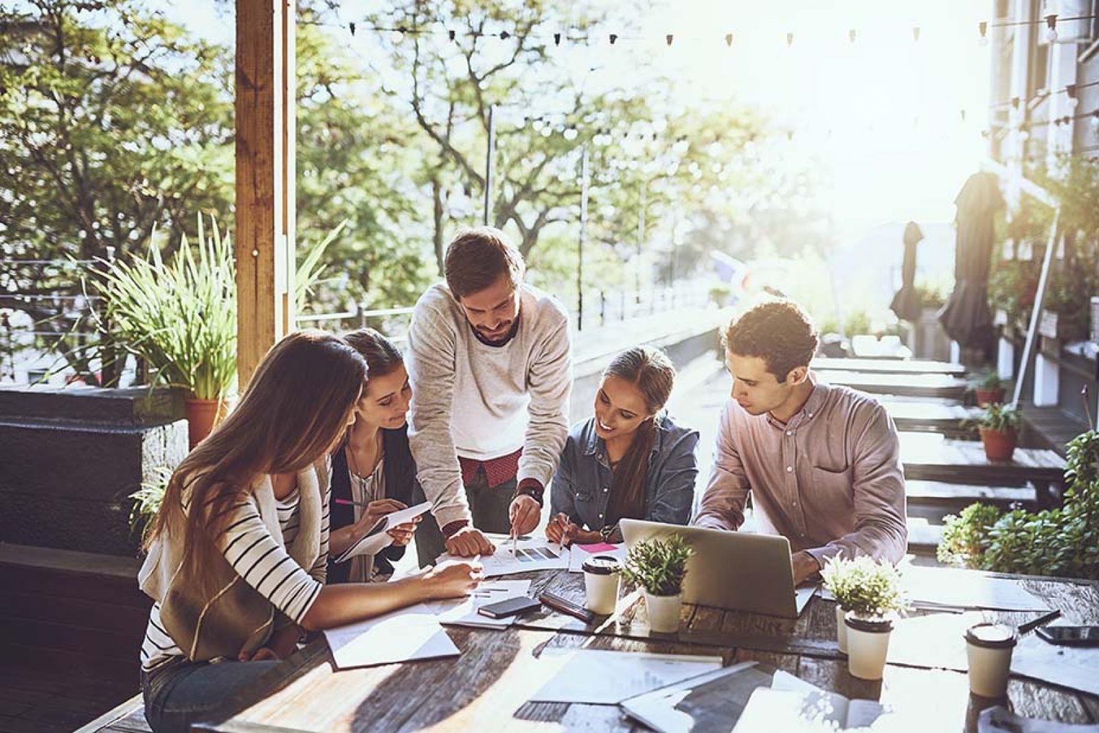 Digital marketing professionals working together