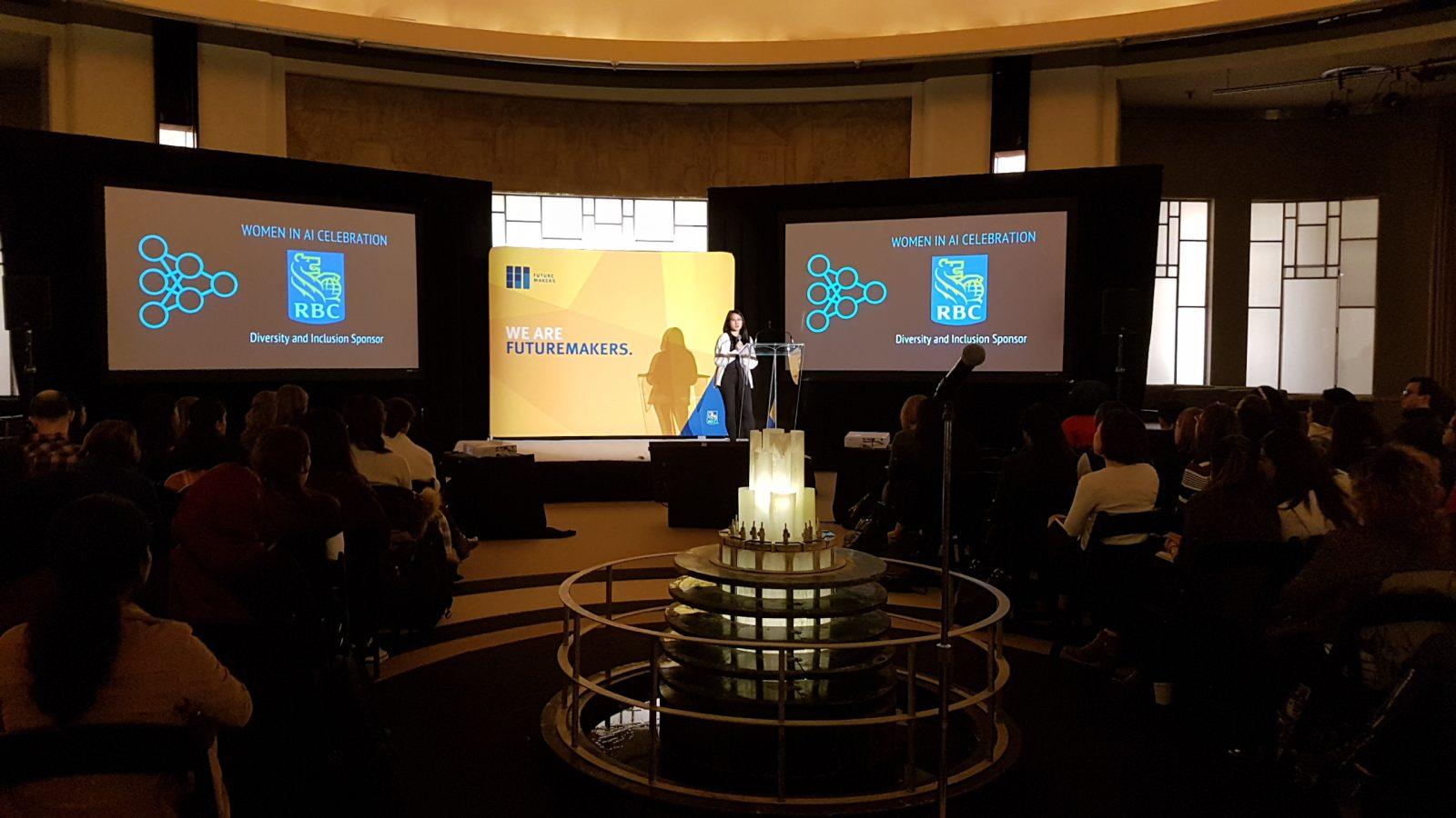 Student speaking at Toronto Machine Learning Summit 2018