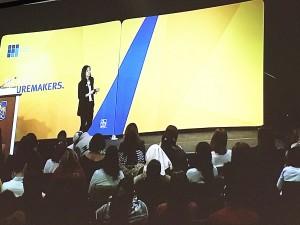 Presenter's stage at DevTO's #IWDTO event, with RBC backdrop