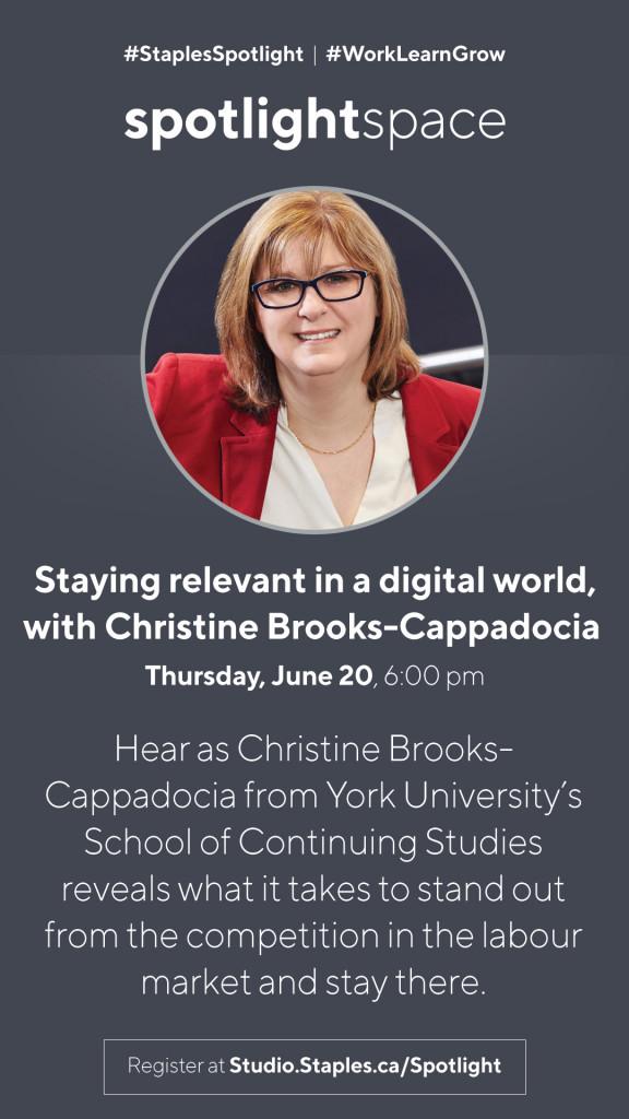 Christine Brooks-Cappadocia presents at the Staples Studio on June 20, 2019