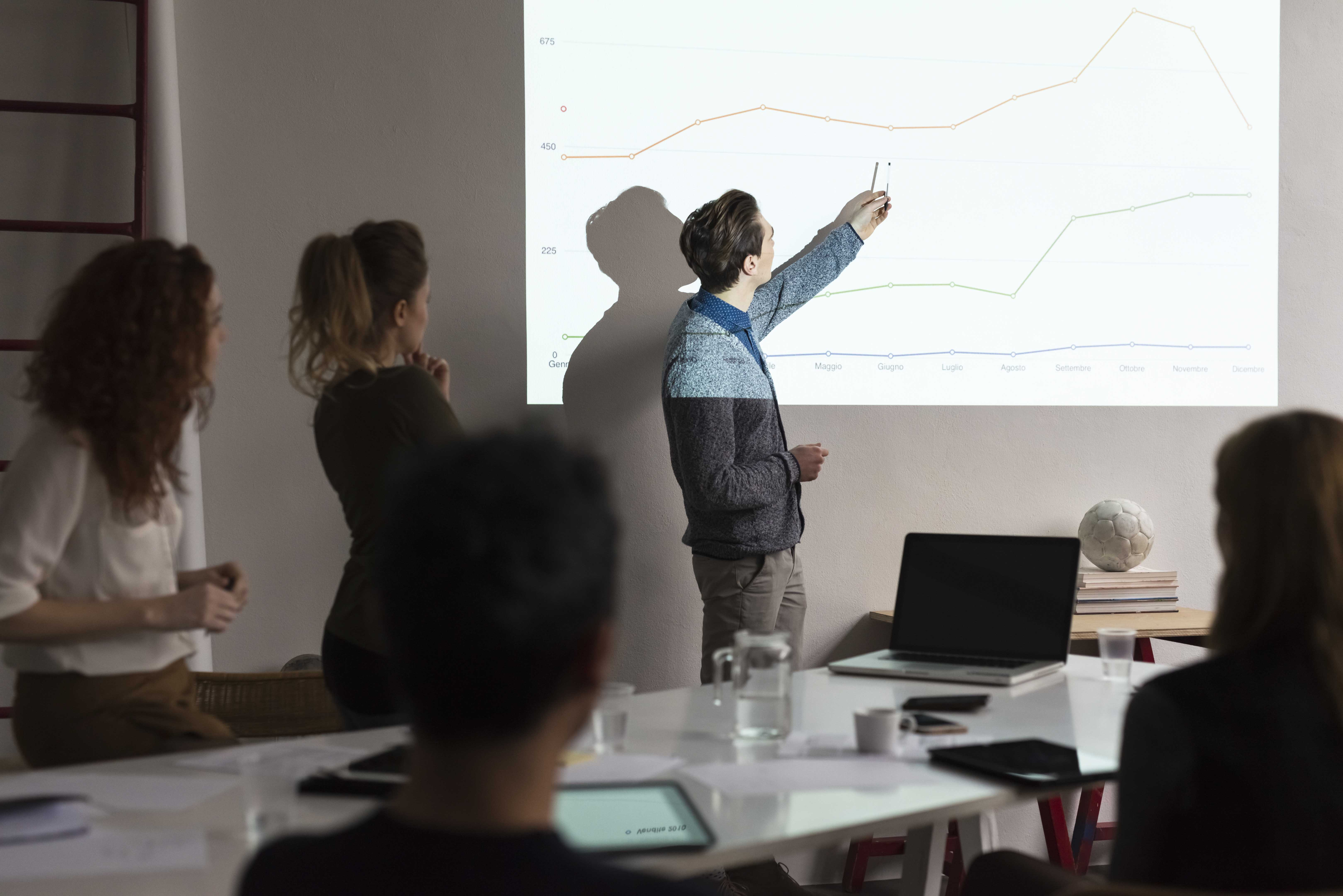 Presentation During A Business Meeting In Office