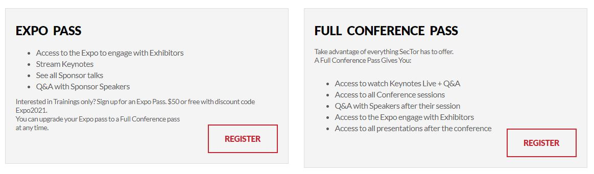 Compare SecTor's expo pass and full conference pass