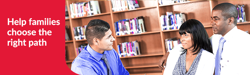 Husband and wife meeting with counselor