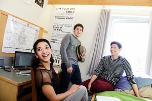 Students in a residence's room