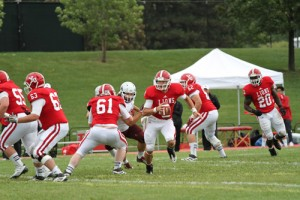 Action image of the York U Lions playing football