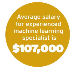 Average salary for experienced machine learning specialist is $107,000